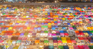 Top view night city multiple colour flea market. Cityscape downtown background Royalty Free Stock Photos