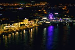 Top view of the night city of Porto, Portugal, beautiful view stock image