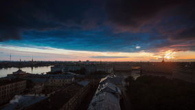 Top View On The Night City Of St.-Petersburg stock footage