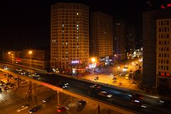 Top view on night crossroad in Shenyang, China stock photo
