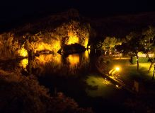Top view at night on Lake Vouliagmeni - famous spa resort in the city of Athens, Greece stock image