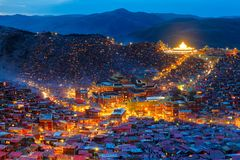 Top view night scene at Larung gar Buddhist Academy in Sichuan. China Royalty Free Stock Photos