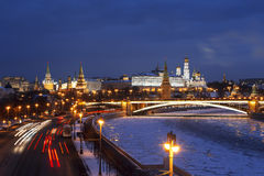 Top view of night wintry Moscow, the Kremlin, Big Stone bridge and Prechistenskaya embankment and Moscow river Stock Photo