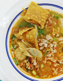 Top View Noodles In Thai Spicy Tom Yum Soup With Pork Stock Image