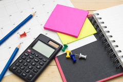 Top view notebook ,calculator,pencil,post it note and calendar p Royalty Free Stock Photography