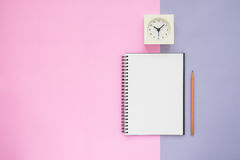 Top view of notebook pencil clock Stock Images