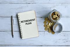 Retirement plan written on a notebook Royalty Free Stock Photos