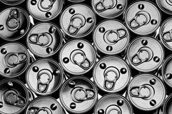 Top view of a number of tin cans Stock Photography