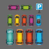 Top view of numerous cars and buses at parking place vector illustration stock illustration