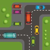 Top view of numerous cars in a traffic jam vector illustration royalty free illustration