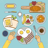 Top view of nutritious breakfast set Royalty Free Stock Photo