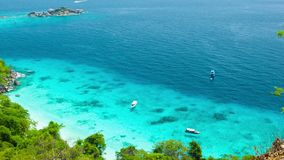 Top view of the ocean bay near the tropical island. Thailand, Similan stock video