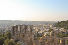 Top view of the Odeon of Herodes Atticus. A steep-sloped theater in the morning Royalty Free Stock Photo