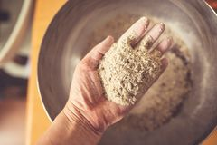 Free Top View Of A Hand Full Of Rye Flour Stock Photos - 102372733