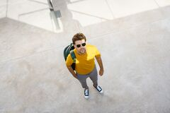 Top View Of A Male Student On The University Campus. Royalty Free Stock Image