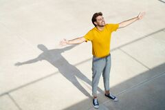 Top View Of A Man Opening His Arms Royalty Free Stock Photos
