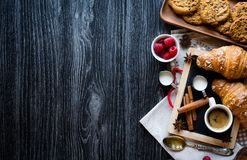 Free Top View Of A Wood Table Full Of Cakes, Fruits, Coffee, Biscuits Stock Images - 109788434