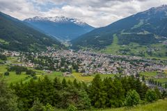 Free Top View Of Bormio In Summertime, An Italian Town In The Province Of Sondrio In Lombardy And Renowned Winter And Summer Tourist Royalty Free Stock Image - 156298716