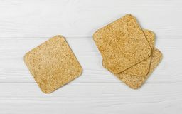 Top View Of Cup Coaster Set On Wooden Background Royalty Free Stock Photography