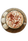 Top View Of Cup Of Capuccino And Coconut Candies Stock Image