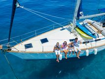Free Top View Of Family With Adorable Kids Resting On Yacht Royalty Free Stock Images - 138968389