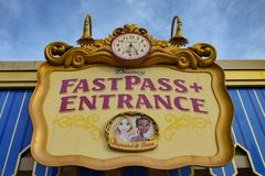 Free Top View Of  Fatpass Entrance Sign In Magic Kingdom At Walt Disney World 137 Stock Photo - 144503320