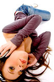 Top View Of Female Tuned In Music Royalty Free Stock Photography