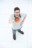 Top View Of Happy Young Man Expressing Positivity And Shouting I Royalty Free Stock Image