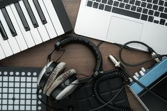 Free Top View Of Home Studio Music Production Equipment Stock Images - 139413764