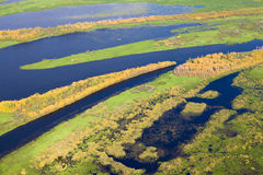 Top View Of Meadow River In Autumn Royalty Free Stock Photography