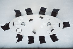 Top View Of Modern Conference Room With Oval Table Royalty Free Stock Photos