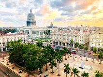 Free Top View Of National Capitol Building And The Central Park On Sunset In The Old Havana. Cuba Stock Images - 143669954