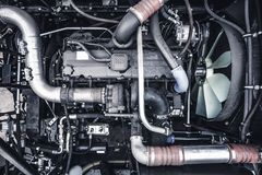 Top View Of New Modern Diesel Agricultural Tractor Or Combine Or Car Motor Or Harvester Engine Stock Photos