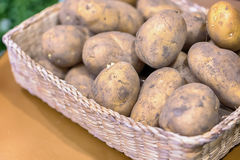 Free Top View Of New Potatoes In A Basket On A Gray Wooden Background Royalty Free Stock Photos - 83013308