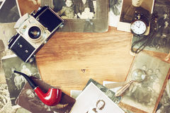 Free Top View Of Old Camera, Antique Photographs And Old Pocket Clock Stock Photography - 44269672