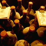 Top View Of Old Vine Bottles Stock Photos