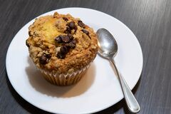 Free Top View Of Plate With Chocolate Chip Muffin On Plate. Royalty Free Stock Photography - 190061697