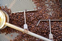 Top View Of Raw Coffee Beans In Roaster Machine Stock Photo