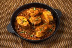 Free Top View Of Spicy And Hot Bengali Fish Curry. Indian Food. Fish Curry With Red Chili, Curry Leaf, Coconut Milk. Asian Cuisine. Stock Photo - 133000880