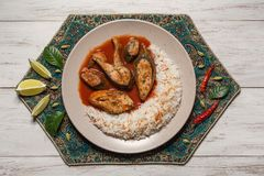 Free Top View Of Spicy And Hot Bengali Fish Curry. Indian Food. Fish Curry With Red Chili, Curry Leaf, Coconut Milk. Asian Cuisine. Royalty Free Stock Images - 138196559