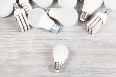 Top View Of White LED And Energy-saving Lamps Royalty Free Stock Photography