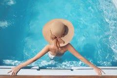 Free Top View Of Woman In Beach Hat Enjoying In Swimming Pool On Luxu Stock Photos - 97170973
