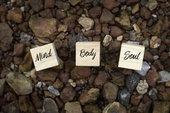 Free Top View Of Wooden Cube Written With Mind Body Soul On A Brown Rock Background Stock Images - 183029064