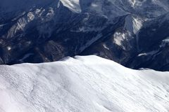 Top view on off piste slope in evening Royalty Free Stock Photography