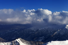 Top view on off-piste slope in sun day Stock Photography