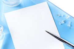 Top view on office blue desk with objects royalty free stock photos