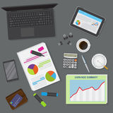 Top view of office dark desk background including laptop, digital devices, financial and business objects. Flat vector design illustration of modern office Stock Image