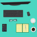 Top view of office desk background including monitor, keyboard and mouse, glasses, cup of coffee. Stock Photos