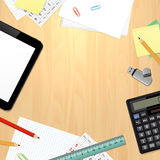 Top view on office desk with business and office supplies Royalty Free Stock Image