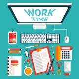 Top view office desk stock illustration